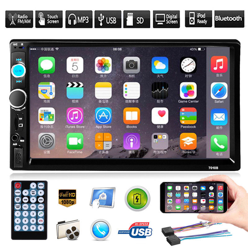 """7/"""" inch Double 2 DIN Car MP5 Player Bluetooth Touch Screen Stereo Radio+Camera U"""