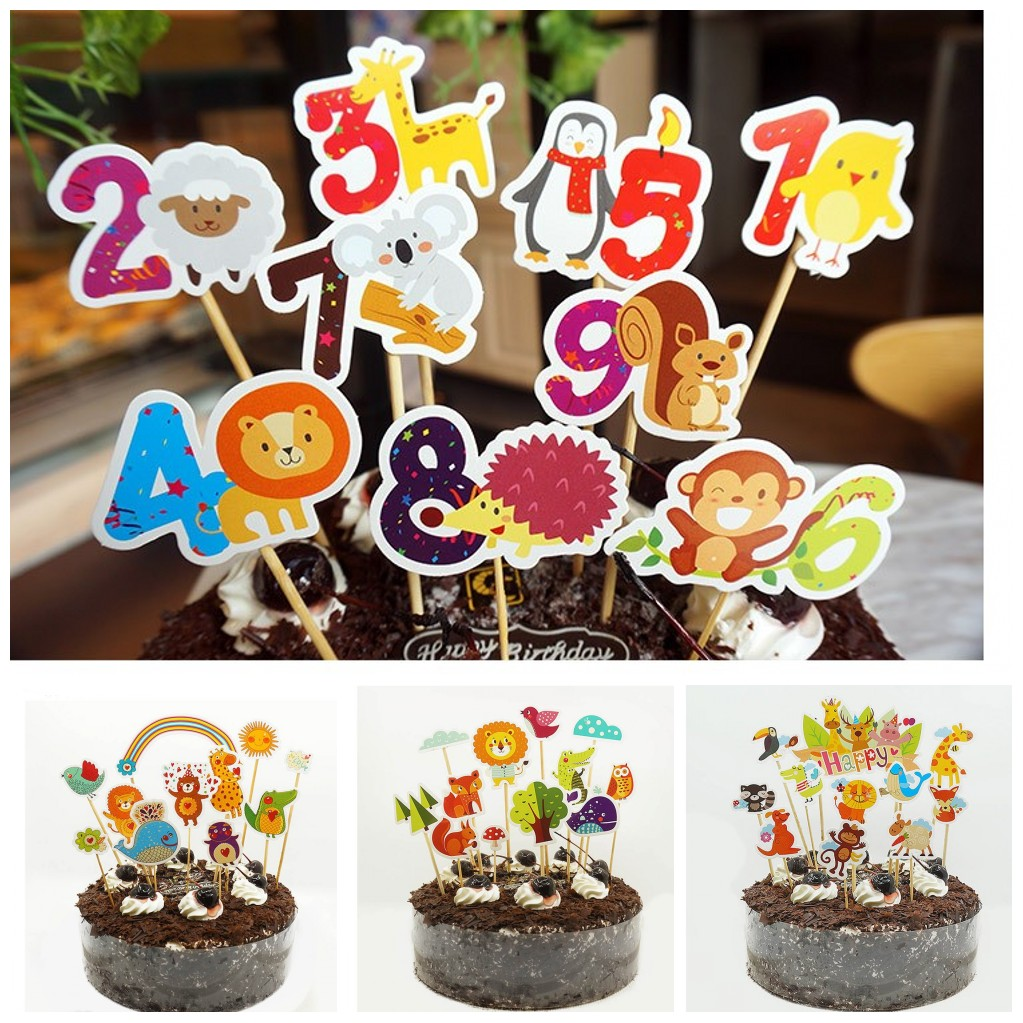 Details About Animal Zoo Birthday Cake Toppers Insert Card Party Wedding Cup Decorations
