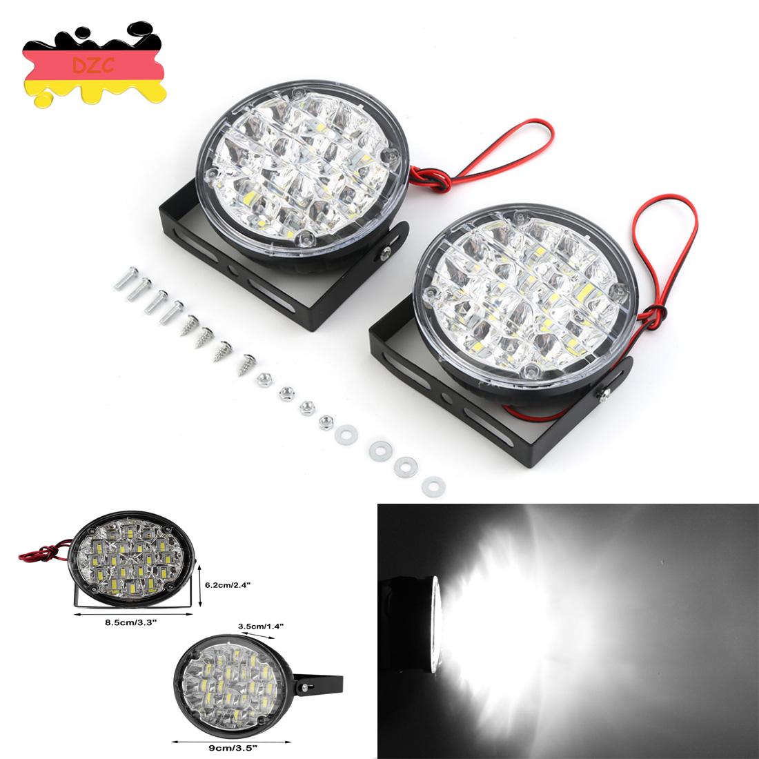2 X Weiß 12V LED DRL Rund Tagfahrlicht Auto Heck Nebel Day Fernscheinwerfer