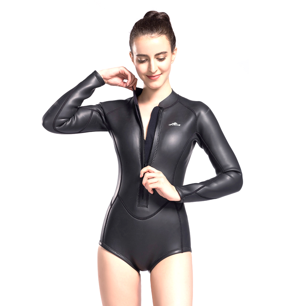 0be6422d8e Details about Womens Neoprene One Piece Wetsuit Front Zip Smoothskin Scuba  Diving Surfing Suit