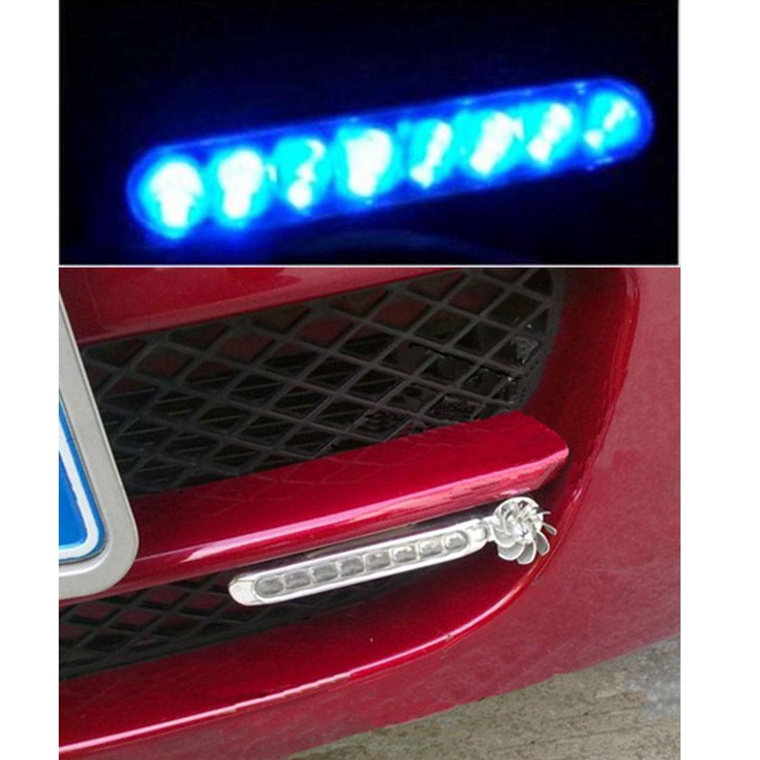 2x Wind Powered 8 LED SMD Car DRL Daytime Running Light Fog Head Bulb 12V New