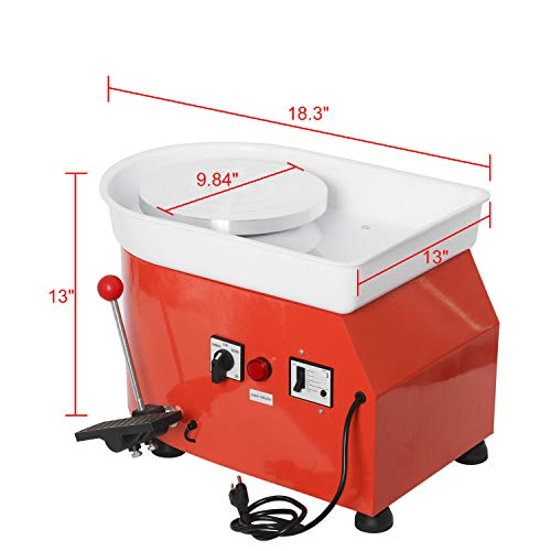 25CM 350W Table Top Pottery Wheel Electric Ceramic Work Forming Machine with Foot Pedal Removable Detachable ABS Basin 11pcs Clay Art Craft Shaping Tools