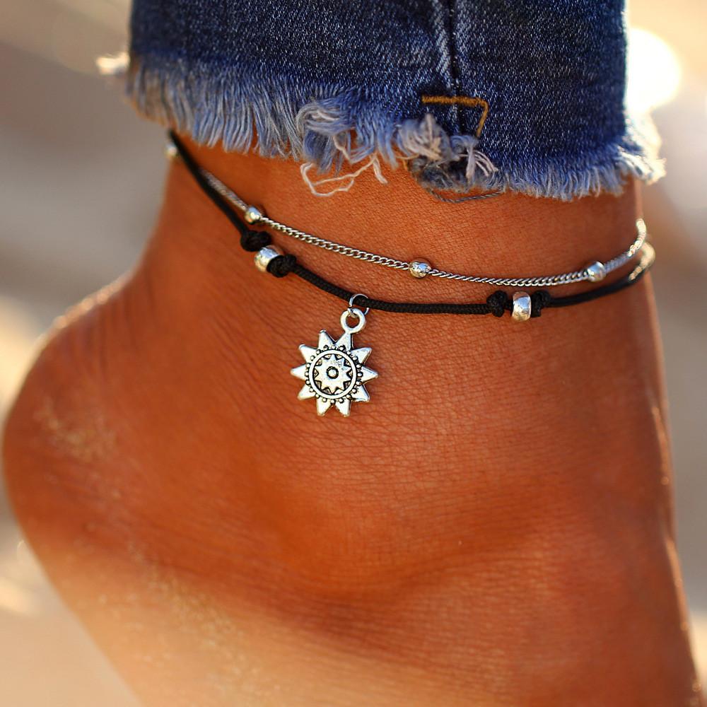 Cord string silver heart Ankle Bracelet Black Hippy