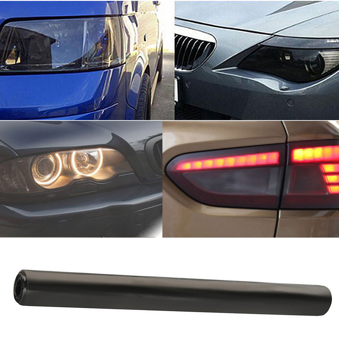 30x 150cm Tint Film Headlights Tail lights Car Vinyl Wrap Light Smoke Black New