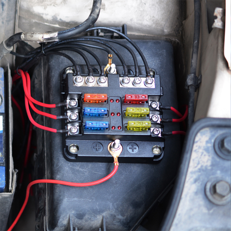 6 Way Blade Fuse Box  U0026 Bus Bar Car Kit With Cover Marine Fusebox Holder 12v 32v