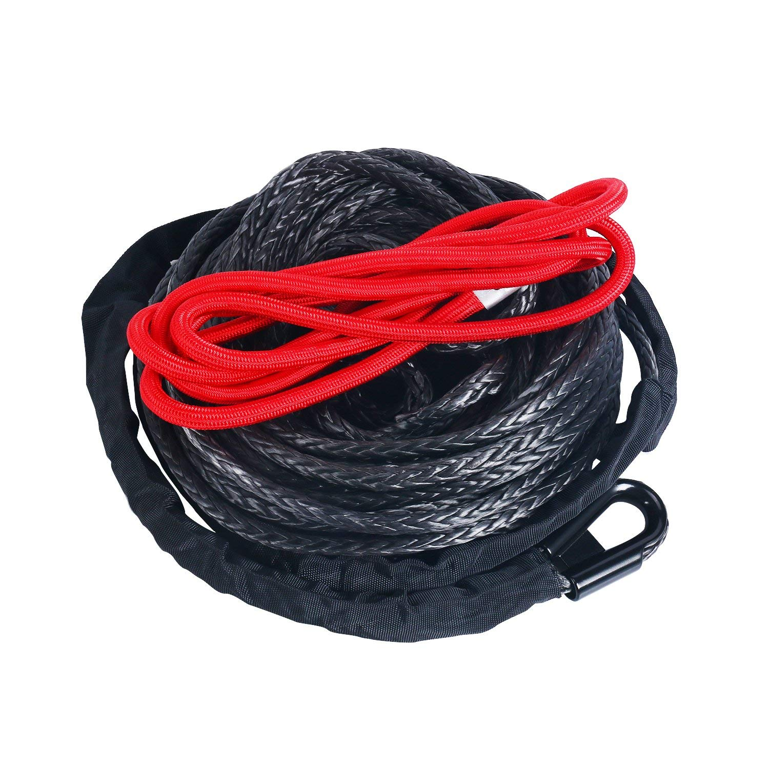 "1//2/""x92ft 22000Lbs Synthetic Winch Rope Line Cable+Red Hook UTV SUV Truck Boat"